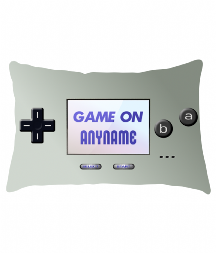 Personalised Game on Retro Gamer Gameboy Micro Silver Design Lumbar Cushion